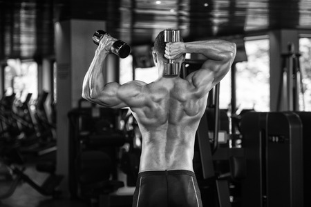physically fit: Portrait Of A Physically Fit Man Posing With Dumbbells In Modern Fitness Center Gym