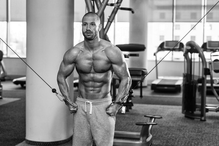 well build: Bodybuilder Is Working On His Chest With Cable Crossover In Gym Stock Photo
