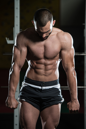 only the biceps: Portrait Of A Young Physically Fit Man Making Most Muscular Pose - Muscular Athletic Bodybuilder Fitness Model Posing After Exercises