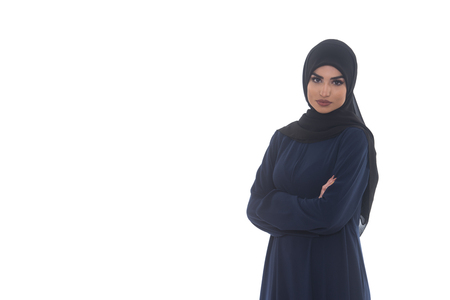 religious clothing: Young Muslim Woman In Head Scarf With Modern Clothes - Isolated On White Stock Photo
