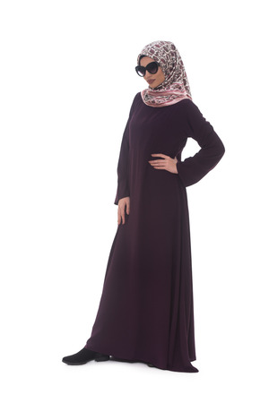 head scarf: Young Muslim Woman In Head Scarf With Modern Clothes And Sunglasses - Isolated On White