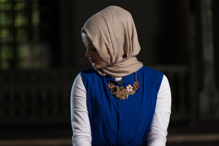 sufi: Young Muslim Woman Is Praying In The Mosque
