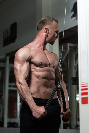 physique: Muscular Fitness Bodybuilder Doing Heavy Weight Exercise For Triceps On Machine With Cable In The Gym