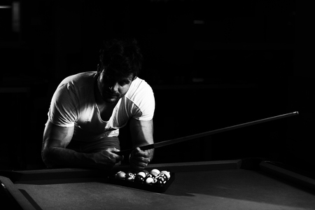 Young Man Looking Confused Lost His Billiard Game