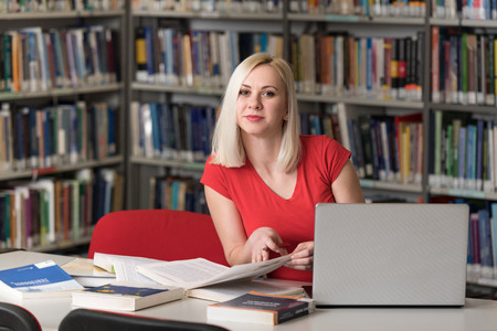 Portrait of an Attractive Student Doing Some School Work With a Laptop in the Library Stock Photo