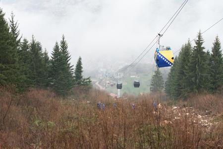 Trebevicka Zicara, Sarajevo, Bosnia and Herzegovina - April 05 2018: Exercise on Gondola Lift Car - Alpinist Is Rescue People From Gondola That Are Stuck