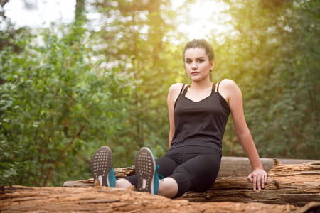 Young Woman Exercise In Wooded Forest Area - Fitness Healthy Lifestyle Concept