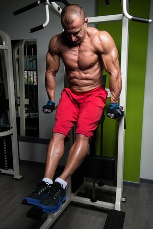 Muscular Fitness Bodybuilder Doing Heavy Weight Exercise For Triceps And Chest on Parallel Bars In The Gym Stock Photo