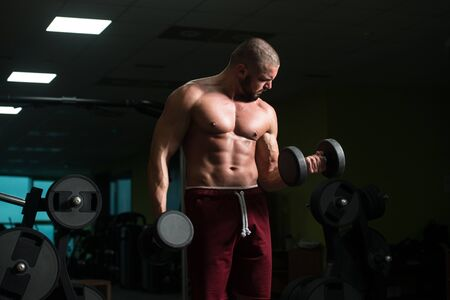 Athlete Working Out Biceps In A Gym - Dumbbell Concentration Curls Фото со стока