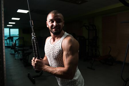 Man In The Gym Exercising On His Triceps On Machine With Cable In The Gym Stock Photo