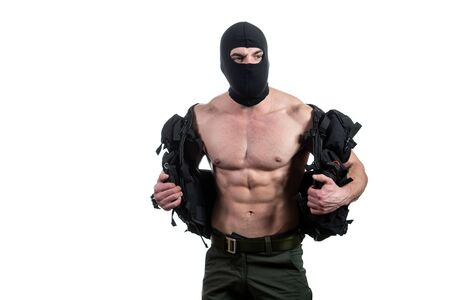 Bodybuilder Portrait of Young Soldier on a White Background Banque d'images