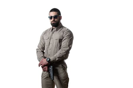 Marine Corps Special Operations Modern Warfare Soldier With Fire Arm Weapon Ready for Battle on White Background
