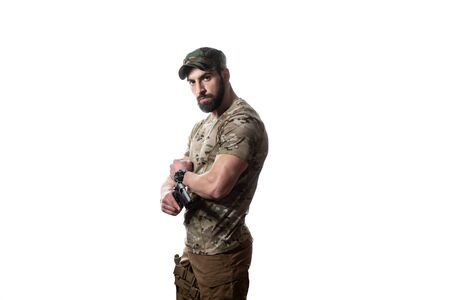American Marine Corps Special Operations Modern Warfare Soldier With Fire Arm Weapon Ready for Battle on White Background Banque d'images