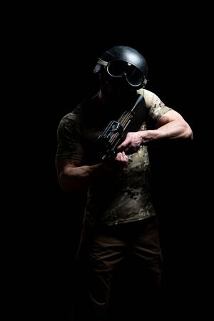 American Marine Corps Special Operations Modern Warfare Soldier With Helmet Fire Arm Weapon Ready for Battle on Black Background