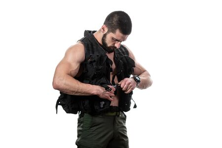 Bodybuilder Portrait of Young Soldier on a White Background
