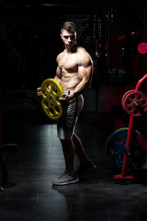 Young Man Standing Strong In The Gym And Holding Weights In Hand