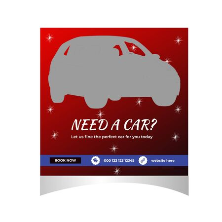 Rent car for social media  post banner template Stock Illustratie