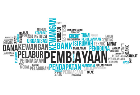 FINANCING word cloud, business concept in Malay word. vector illustration.