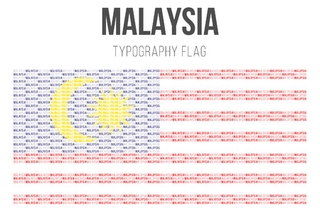Malaysia flag in typography. vector illustration. Illustration