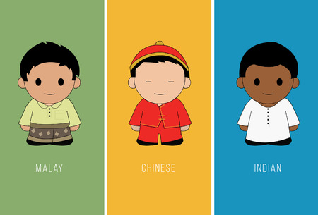 Malaysian boys with multicultural traditional costumes. vector illustration. Illustration