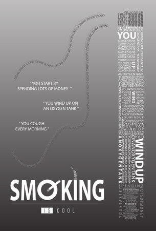 Stop smoking poster in black and white.  vector illustration. Illustration
