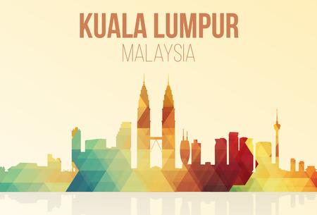 三角法でマレーシアのクアラルンプールのランドマーク スカイライン。ベクトル イラスト。