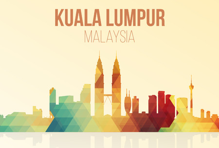 malaysia city: Kuala Lumpur, Malaysia landmarks skyline in trigonometry. vector illustration. Illustration