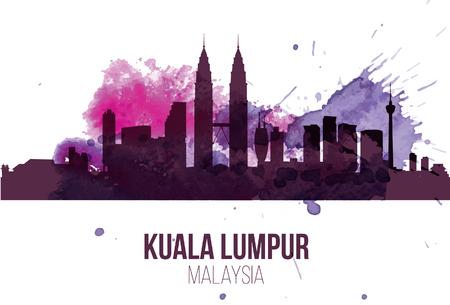Kuala Lumpur, Malaysia landmarks skyline in purple colour Illustration
