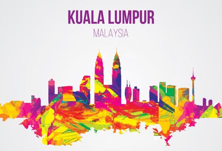 malaysia culture: Kuala Lumpur, Malaysia landmarks skyline. vector illustration.