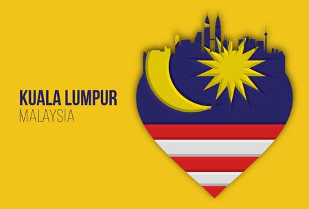 쿠알라 룸푸르 심장 모양의 말레이시아 독립 기념일. 벡터 일러스트 레이 션입니다.