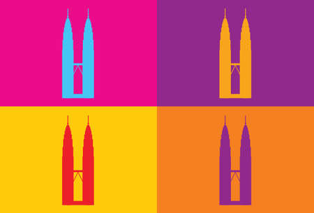 tower tall: KUALA LUMPUR: Popart design of the Petronas Twin Towers. vector illustration.