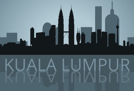 Kuala Lumpur, Malaysia shadow skyline vector Illustration