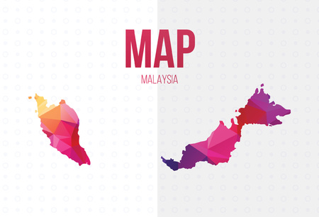 Malaysia Map with Polygonal. Vector illustration