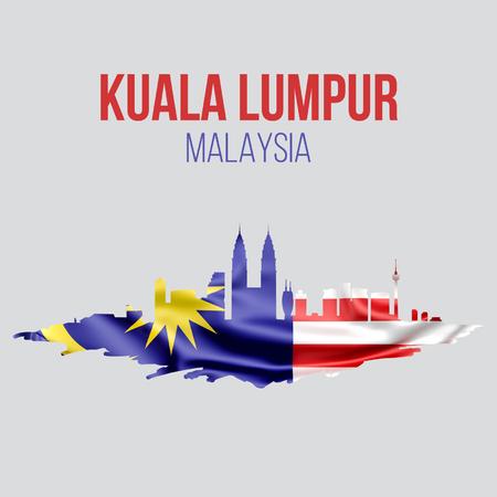 Kuala Lumpur, Malaysia flag with Kuala Lumpur skyline. vector illustration.