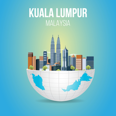 Kuala Lumpur building skyline on sphere earth and Malaysia map vector illustration. Illustration