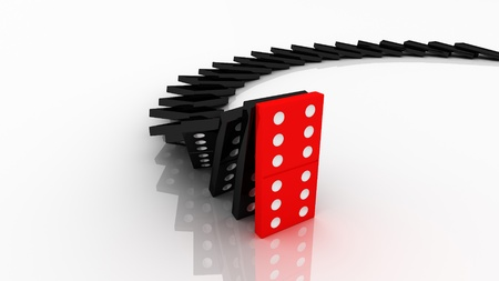 domino effect: lined up dominoes falling. Red stop others.