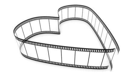 3d blank films heart over white background Stock Photo