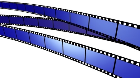 Blue film cross screen on white background. Isolated. photo