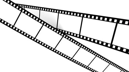filmroll: White film cross screen on white background. Isolated.