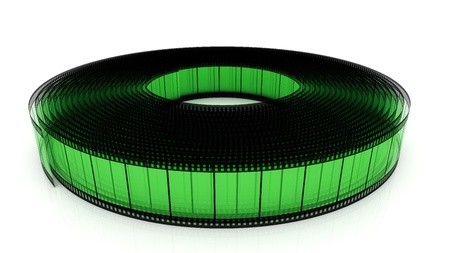 Segment transparent color film rolled up on a white background photo
