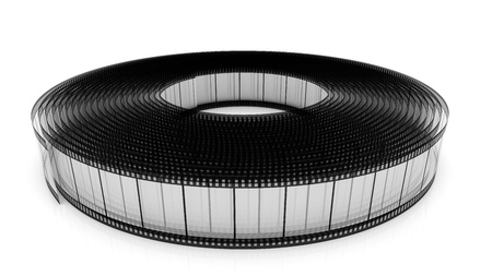 rolled up: Segment transparent color film rolled up on a white background