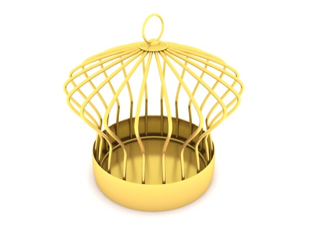 Golden cage  isolated on a white background photo