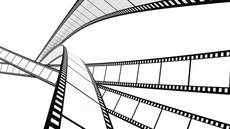 cinema strip: White film cross screen on white background. Isolated.