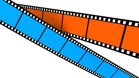 filmroll: Colored film on white backgroung. Blue and orange Stock Photo