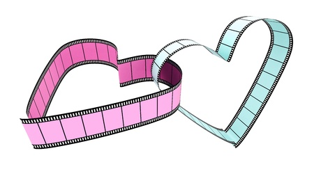 Two blank films heart over white background Stock Photo