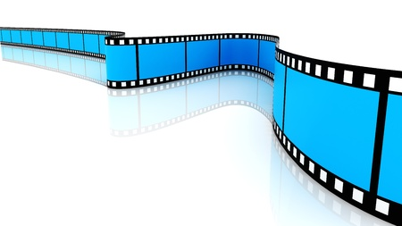 a cartoon film: 3d blank film on white backgroung. Blue
