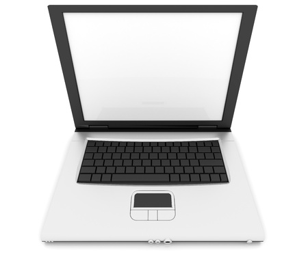 lap top: a silver notebook isolated on white with blank screen