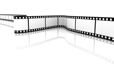 a cartoon film: 3d blank film on white backgroung. Green