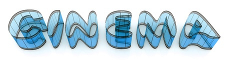 Word cinema from film strips over white background photo