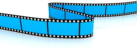 a cartoon film: 3d blank film zigzag on white backgroung.